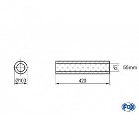 Silencieux universels type 314 en inox / Ø100mm / d1 Ø55mm / longueur 420mm