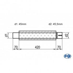 Silencieux universel type 314 en inox / Ø100mm / d1 Ø45mm / longueur 420mm