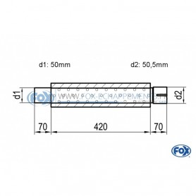 Silencieux universel type 314 en inox / Ø100mm / d1 Ø50mm / longueur 420mm