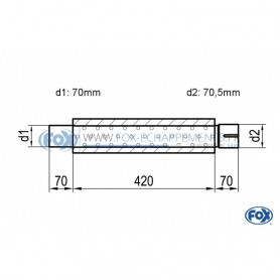 Silencieux universel type 314 en inox / Ø100mm / d1 Ø70mm / longueur 420mm