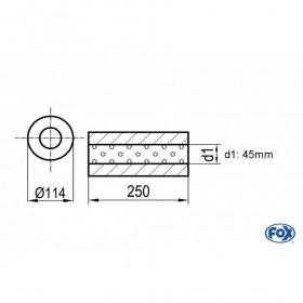 Silencieux universel type 355 en inox / Ø114mm / d1 Ø45mm / longueur 250mm