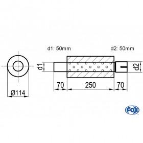 Silencieux universel type 355 en inox / Ø114mm / d1 Ø50mm / longueur 250mm