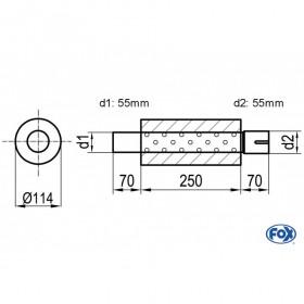 Silencieux universel type 355 en inox / Ø114mm / d1 Ø55mm / longueur 250mm