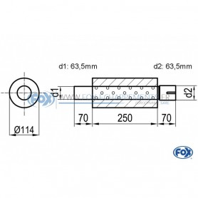 Silencieux universel type 355 en inox / Ø114mm / d1 Ø63.5mm / longueur 250mm