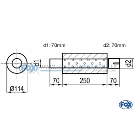 Silencieux universel type 355 en inox / Ø114mm / d1 Ø70mm / longueur 250mm
