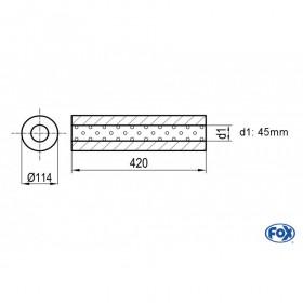 Silencieux universel type 355 en inox / Ø114mm / d1 Ø45mm / longueur 420mm