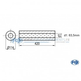 Silencieux universel type 355 en inox / Ø114mm / d1 Ø63.5mm / longueur 420mm
