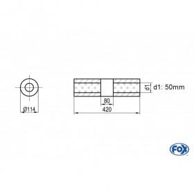 Silencieux universel type 355 en inox / Ø114mm / d1 Ø50mm / longueur 420mm