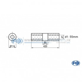 Silencieux universel type 355 en inox / Ø114mm / d1 Ø55mm / longueur 420mm