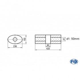 Silencieux universel type 618 en inox / 236x150mm / d1 Ø50mm / longueur 420mm