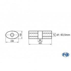 Silencieux universel type 618 en inox / 236x150mm / d1 Ø63mm / longueur 420mm