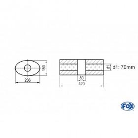Silencieux universel type 618 en inox / 236x150mm / d1 Ø70mm / longueur 420mm