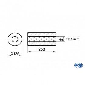 Silencieux universel type 390 en inox / Ø125mm / d1 Ø45mm / longueur 250mm