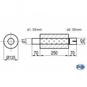 Silencieux universel type 390 en inox / Ø125mm / d1 Ø55mm / longueur 250mm