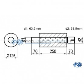 Silencieux universel type 390 en inox / Ø125mm / d1 Ø63.5mm / longueur 250mm