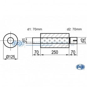Silencieux universel type 390 en inox / Ø125mm / d1 Ø70mm / longueur 250mm