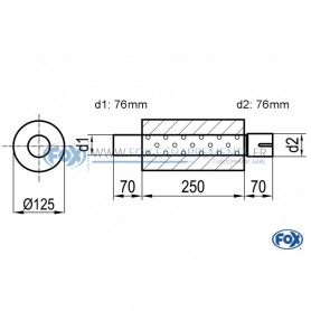 Silencieux universel type 390 en inox / Ø125mm / d1 Ø76mm / longueur 250mm