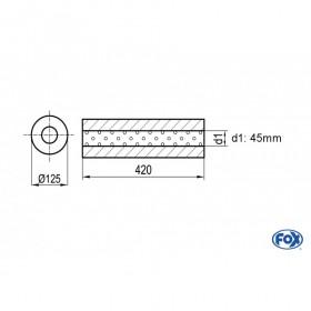 Silencieux universel type 390 en inox / Ø125mm / d1 Ø45mm / longueur 420mm