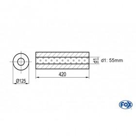 Silencieux universel type 390 en inox / Ø125mm / d1 Ø55mm / longueur 420mm
