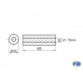 Silencieux universel type 390 en inox / Ø125mm / d1 Ø76mm / longueur 420mm