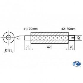 Silencieux universel type 390 en inox / Ø125mm / d1 Ø70mm / longueur 420mm