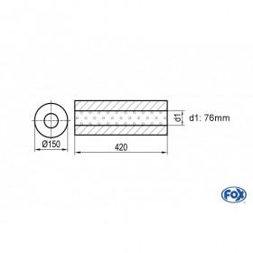Silencieux universel type 466 en inox / Ø150mm / d1 Ø76mm / longueur 420mm