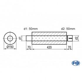 Silencieux universel type 466 en inox / Ø150mm / d1 Ø50mm / longueur 420mm