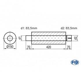 Silencieux universel type 466 en inox / Ø150mm / d1 Ø63.5mm / longueur 420mm