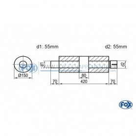 Silencieux universel type 466 en inox / Ø150mm / d1 Ø55mm / longueur 420mm