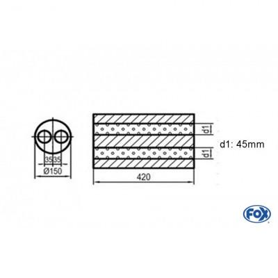 Silencieux universel type 466 en inox / Ø150mm / d1 Ø45mm / longueur 420mm