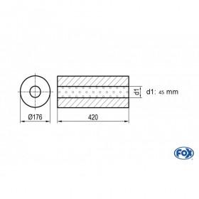 Silencieux universel type 556 en inox / Ø176mm / d1 Ø45mm / longueur 420mm