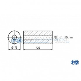 Silencieux universel type 556 en inox / Ø176mm / d1 Ø50mm / longueur 420mm
