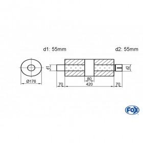 Silencieux universel type 556 en inox / Ø176mm / d1 Ø55mm / longueur 420mm