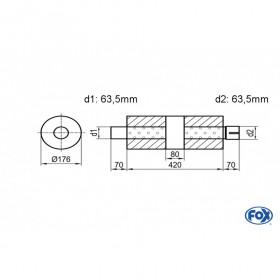 Silencieux universel type 556 en inox / Ø176mm / d1 Ø63.5mm / longueur 420mm