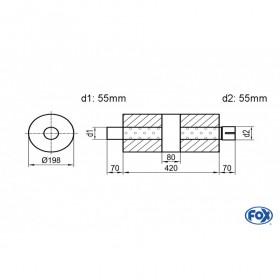Silencieux universel type 626 en inox / Ø198mm / d1 Ø55mm / longueur 420mm