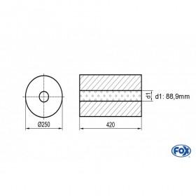 Silencieux universel type 784 en inox / Ø250mm / d1 Ø88.9mm / longueur 420mm