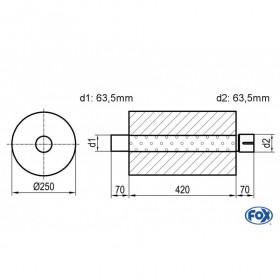 Silencieux universel type 784 en inox / Ø250mm / d1 Ø63.5mm / longueur 420mm