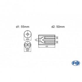 Silencieux universel type 784 en inox / Ø250mm / d1 Ø55mm / longueur 420mm