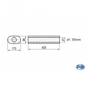Silencieux universel type 450 en inox / 173x98mm / d1 Ø55mm / longueur 420mm