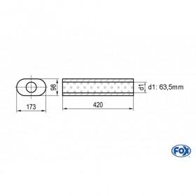 Silencieux universel type 450 en inox / 173x98mm / d1 Ø63.5mm / longueur 420mm