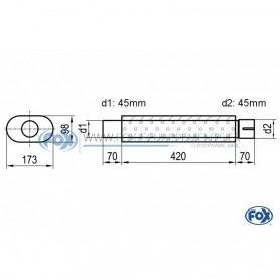 Silencieux universel type 450 en inox / 173x98mm / d1 Ø45mm / longueur 420mm