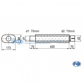 copy of Silent stainless steel rear 1x135x80mm type 53 for OPEL VECTRA A (COFFRE)