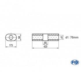 Silencieux universel type 450 en inox / 173x98mm / d1 Ø76mm / longueur 420mm