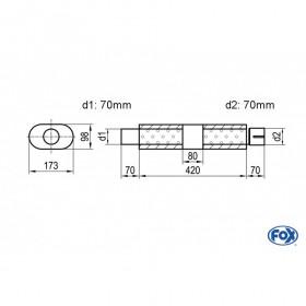 Silencieux universel type 450 en inox / 173x98mm / d1 Ø70mm / longueur 420mm