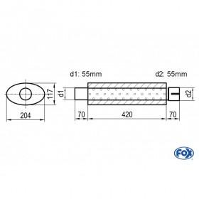 Silencieux universel type 525 en inox / 204x117mm / d1 Ø55mm / longueur 420mm