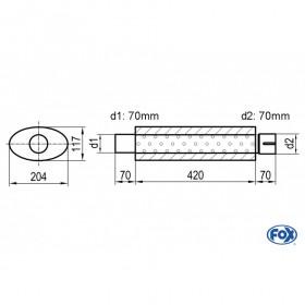 Silencieux universel type 525 en inox / 204x117mm / d1 Ø70mm / longueur 420mm