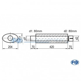 Silencieux universel type 525 en inox / 204x117mm / d1 Ø80mm / longueur 420mm
