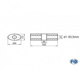 Silencieux universel type 525 en inox / 204x117mm / d1 Ø63.5mm / longueur 420mm