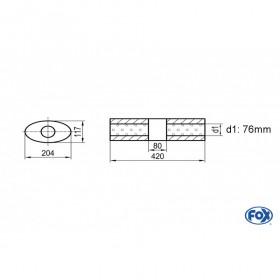 Silencieux universel type 525 en inox / 204x117mm / d1 Ø76mm / longueur 420mm