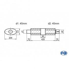 Silencieux universel type 525 en inox / 204x117mm / d1 Ø45mm / longueur 420mm